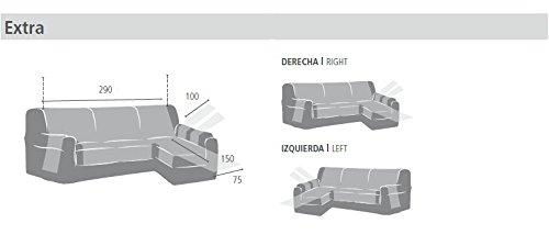 Eysa Fundas de Sofa Prácticas, Chaise Longue 240 cm, Derecha Vista Frontal, Tela, Marrón, Tres Plazas