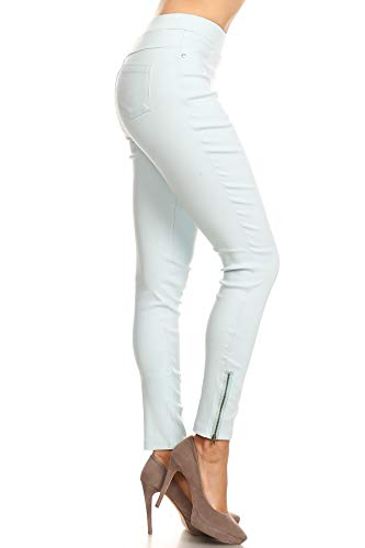 (Women's Skinny Strechy Pull-On Ankle Zip Jeggings Ligh Blue Medium)