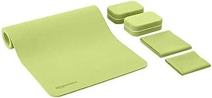 AmazonBasics 1/4-Inch Thick TPE Yoga Mat 6 Piece Set, Green
