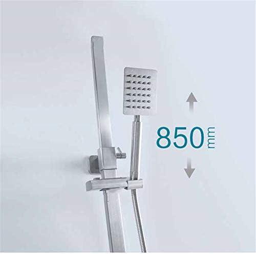 レインシャワー、3 - 機能ハンドシャワーステンレス製のホース本物の304ステンレス鋼のバスルーム3速の多機能平方シャワー正方形のシャワー