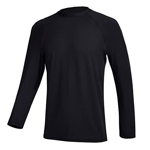 Satankud Men's Swim Shirts Rashguard Sun Shirt UPF 50+ UV Sun Protection Outdoor Long Sleeve T-Shirt Swimwear Black M