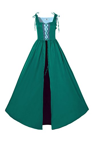 Lemail Womens Renaissance Irish Overdress Medieval Pirate Peasant Costume Coat Green XL by Lemail wig (Image #1)