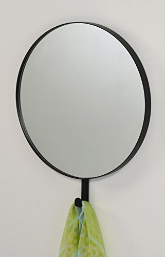 Black Finish Round Wall Mirror Decorative Mirror with Hook for Coat, Hat, Scarf