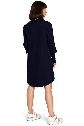 mit und an Marineblau Kleid Unterseite der Saum Clea Rollkragen vHS7w5xq5g