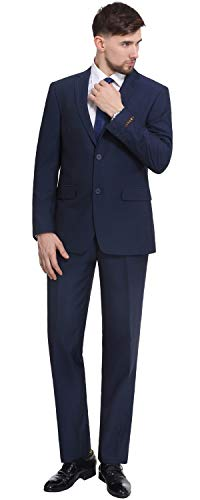 P&L Men's 2-Piece Two Button Slim Fit Suit Blazer Jacket Flat Front Pants Set Blue ()