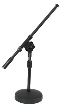 Black Microphone Desk Stand With Boom - Gooseneck Flange 5/8