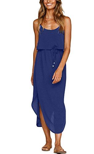 NERLEROLIAN Women's Adjustable Strappy Split Summer Beach Casual Midi Dress(baolan,M) Sapphire Blue