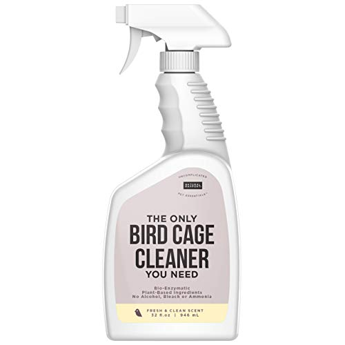 Natural Rapport Bird Cage Cleaner Poop Remover Spray Naturally, Safely, and Conveniently Removes Parakeet, Parrot, and Other Bird Waste by Dissolving it with Plant-Based Enzymes (32 fl oz.)