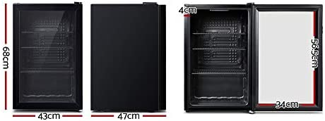 Devanti 70L Bar Fridge Glass Door Mini Countertop Freezer Fridges ...