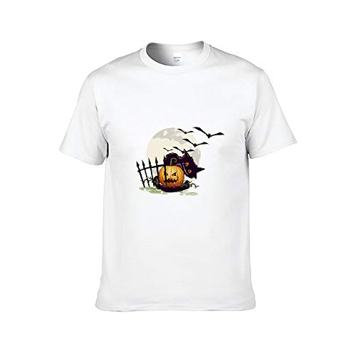 Short Sleeve T-Shirt for Men Halloween (49) Bat,Fictional Character,Jack-o'-Lantern,Trick-or-Treat,Witch hat Hangers 6XL White]()