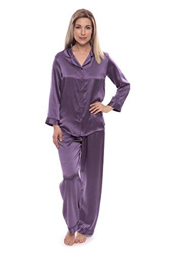 TexereSilk Women's 100% Silk Pajama Set - Luxury Sleepwear Pjs (Morning Dew, Grape, Small) for Anniversary Birthday WS0001-GRP-S