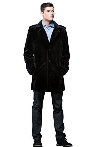Sheared Mink Jacket - EM-EL Men's Black Sheared Mink Fur Jacket