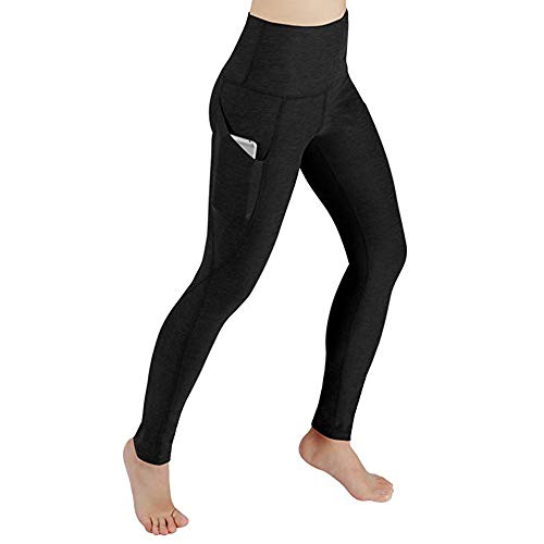 CGKUITER Women Solid Color Pocket Yoga Pants Sports Fitness Gymnastics Yoga Pants Sexy Ladies Leggings Black -