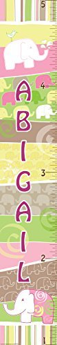 Mona Melisa Designs Customized Elephant Girl Abigail Growth Chart Decorative Wall Sticker [並行輸入品]   B0785PMD3D