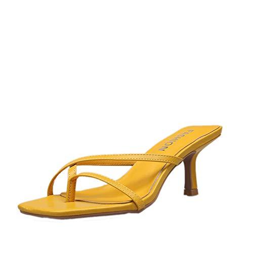 - HTTEM Women's Kitten Heel Flip Flops Slip On Thong Sandals Stiletto Party Slippers Yellow 39