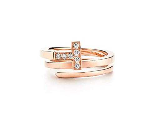 bb10e7c0114c8 T Square Wrap Tiffany Style 18k Solid Rose Gold Round Natural Diamond Women  Ring Engagement Wedding Bridal Love Anniversary Party Jewelry All US Ring  Size ...