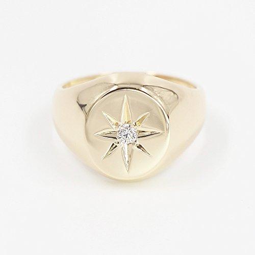 Diamond Signet Ring, Minimalist Signet Ring, Star Setting Natural Diamond Signet Ring, 14k Solid Gold Signet Ring by JSVConcept