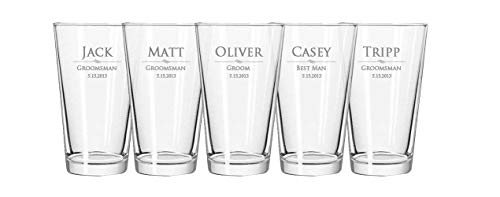 Custom Engraved Pint Glass - Personalized 16 oz Beer Glasses - Groomsmen Gifts, Customized Bulk Wedding Gift, Made in USA Heat Treated Bar ()