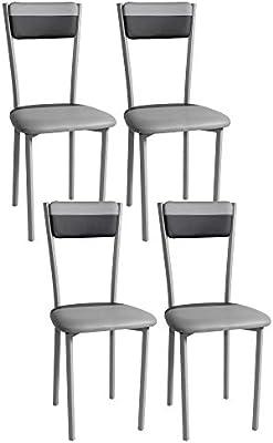Pack 4 sillas de cocina de polipiel, color combinado negro y gris ...