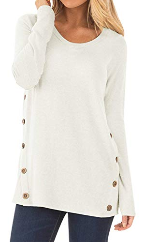 Women's Round Neck Tunic Soft Tops Button Blouses Tops White X-Large ()