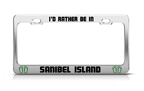 IBEL ISLAND Florida Island Nature Chrome Metal License Plate Frame (Sanibel Metal)