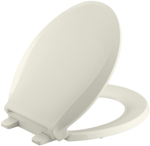 Kohler 4639-96 Cachet Quiet-Close with Grip-Tight Bumpers Round-front Toilet Seat, Biscuit - Kohler Round Front Toilet