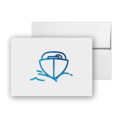 Motorboat Boat Nautic Marine Boats, Blank Card Invitation Pack, 15 cards at 4x6, with White Envelopes, Item 949765