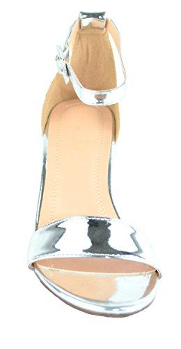 Chase & Chloe Venus-4 Cinturino Alla Caviglia Donna Sandalo Con Tacco Basso Argento