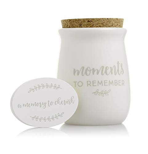 Pearhead Gratitude Jar, Ceramic Blessings Keepsake Jar with Cork Topper & Memories To Cherish Notecards; Personalized Gift Idea for Families, Couples, Unique Thoughtful Gift, Ceramic Home Decor, White (Personalized Ceramic Gifts)