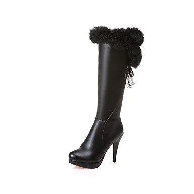 Zapatos Moda Y US6 Calf Mujer Bajo Botas De Puntera UK4 Casual Botas Talón Blanco EU36 El RTRY Botas Negro Polipiel Invierno Redonda Mid Vestimenta CN36 Para wFdqWI
