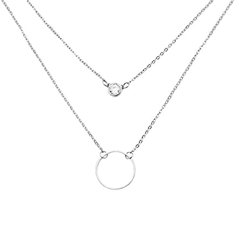 Simple Karma Circle Cubic Zirconia Layered Necklaces Stainless Steel Silver - Silver Double Circle Necklace