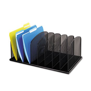 Mesh Desk Organizer, Eight Sections, Steel, 19 1/2 X 11 1/2 X 8 1/4, Black ()