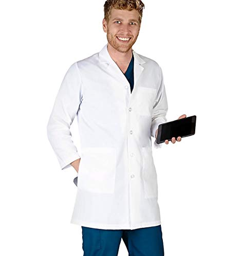Natural Uniforms Mens IPAD Pocket LAB Coat (XS) Special Sales Price White