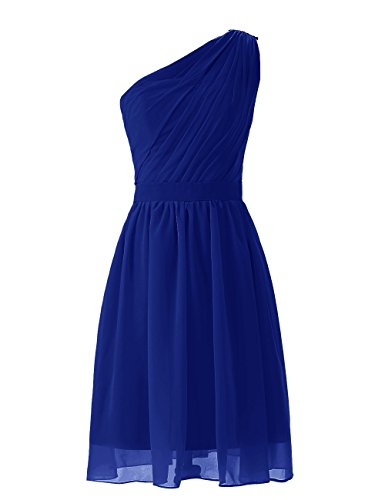 Simple Royal Olidress One Blue Short Women's Shoulder Dress Chiffon Bridesmaid pSwqa58S