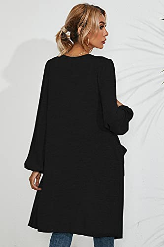 IECCP Womens Loose Casual Long Sleeve Open Front Flowy Cardigans with Pockets,Black,L