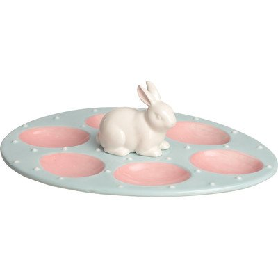 Good  Plate Holds 6 Eggs. Product Type:  Decorative Accents. Holiday Theme:   Yes. Seasonal Theme:  Yes. Holiday:  Easter. Dimensions: Overall Height ... Pictures
