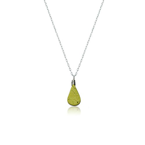 Dainty Handmade Pendant Necklace with Green Teardrop Serpentine Stone in Sterling Silver 18