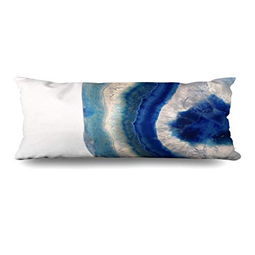 (Ahawoso Body Pillows Cover 20x54 Inches Mineral Blue Agate Slice Stone Details Pattern Precious Close Sea White Agathe Decorative Cushion Case Home Decor Pillowcase)