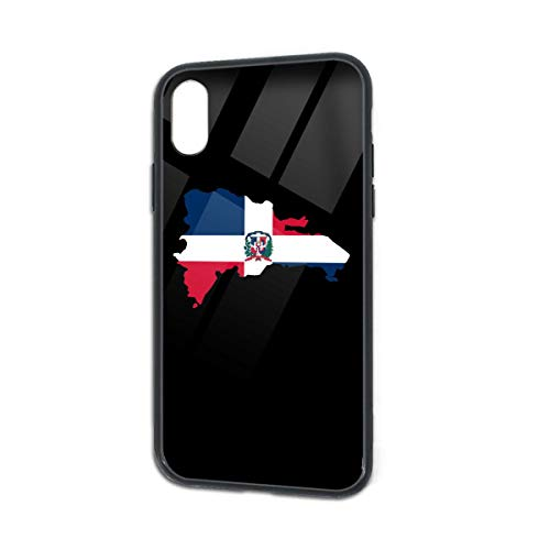 Dominican Republic Map Flag iPhone X Case | iPhone Xs Case Funny Phone Case Soft TPU Tempered Glass Shell Scratch Resistant Compatible iPhone X/Xs (Show Me A Map Of The Dominican Republic)