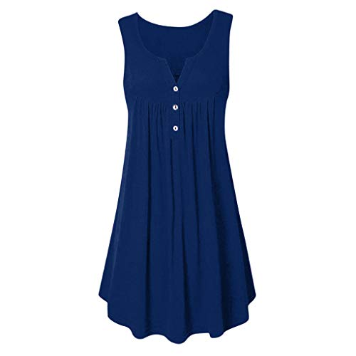 FengGa Women Sundresses Summer Casual O Neck Sleeveless A-line Plain Pleated Bohemian Beach Party Tank Dress Mini Dress Navy