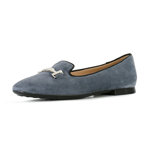 XYD Comfortable Low Heel Slip On Suede Flats Pointed Toe Ballet Loafer Dress Shoes For Women Gray