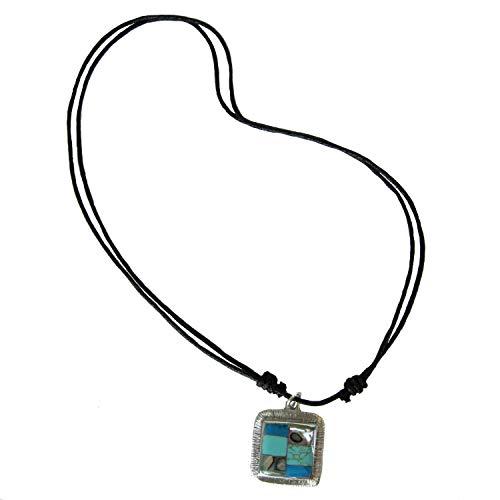 Artisana Turquoise and Abalone Square Pendant Necklace