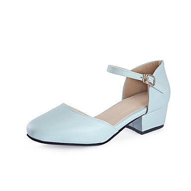 Wedding Party US5 amp;Amp; Heels EU35 Pink Chunky Pump Career Summer Blue Basic Women'S Office UK3 Purple Heelblushing Pump Evening Dress amp;Amp; CN34 Pu Buckle Basic zA1xxwqnXC