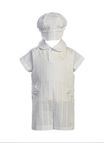 Cotton Embroidered Short Christening Baptism Romper Set - Size S (3-6 Months) by Swea Pea & Lilli