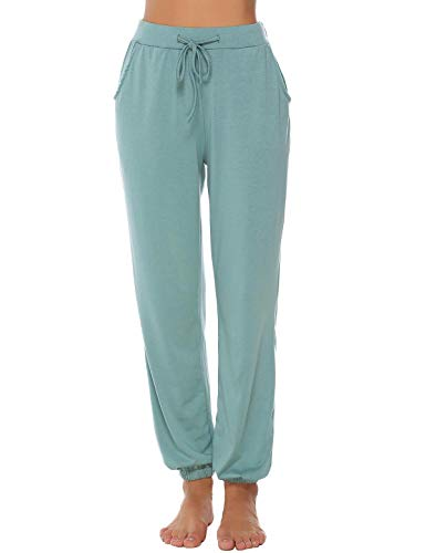 (Abollria Women's Cotton Pajama Pants Stretch Lounge Pants with Pockets Jogger Pants (Green,)