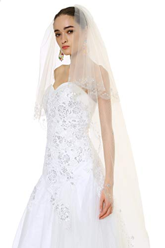 (Passat White 1 Tier 3M NEW! Floral Beaded Scallop Edge Cathedral Wedding Bridal Veil 224)