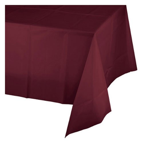 Creative Converting Octy-Round Plastic Table Cover, 82-Inch, Burgundy ()