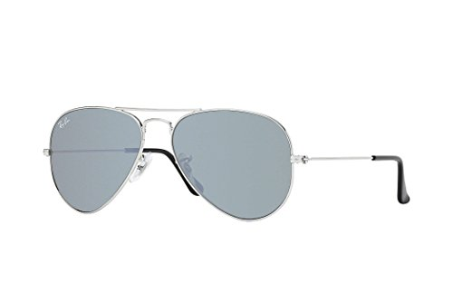 Ray-Ban RB3025 Small Aviator Sunglasses Shiny Silver w/Silver Mirror (W3275) 3025 55mm - Aviator 14 Ban Ray 55