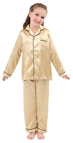 JOYTTON Kids Satin Pajamas Set PJS Long Sleeve Sleepwear Loungewear Gold