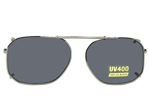 Modified Aviator Non Polarized Clip On Sunglasses (Pewter-NON Polarized Gray Lens, 60mm Width x 47mm Height)